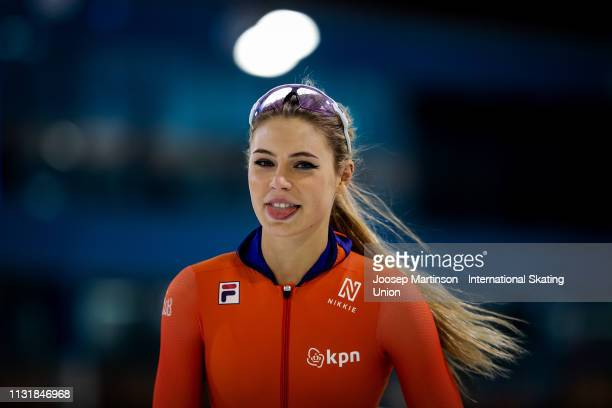 Jutta Leerdam reacts in the Ladies 1000m during day two of the ISU World Sprint Speed Skating Championships Heerenveen at Ice Rink Thialf on February...