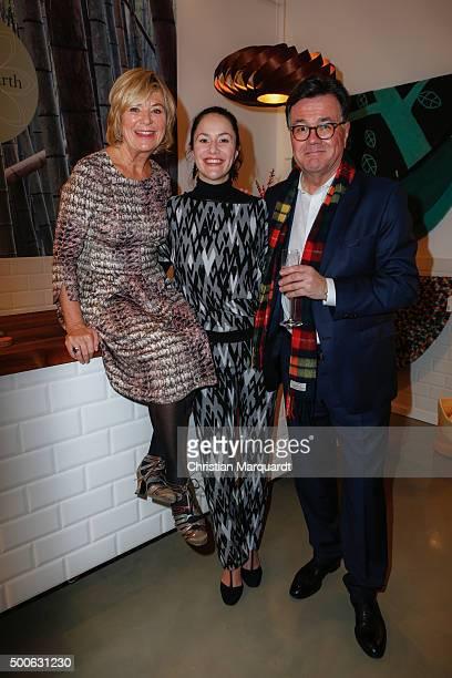 Jutta Speidel Antonia Feuerstein and Stefan Feuerstein attend the 'Home On Earth' Shop Opening on December 9 2015 in Berlin Germany