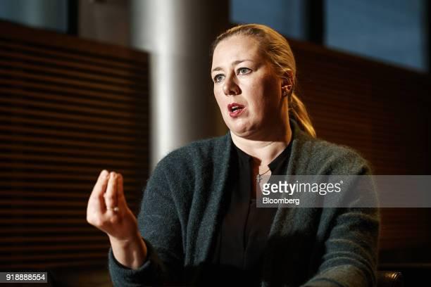 Jutta Urpilainen former Finnish finance minister gestures as she speaks during an interview in Helsinki Finland on Thursday Jan 25 2018 European...