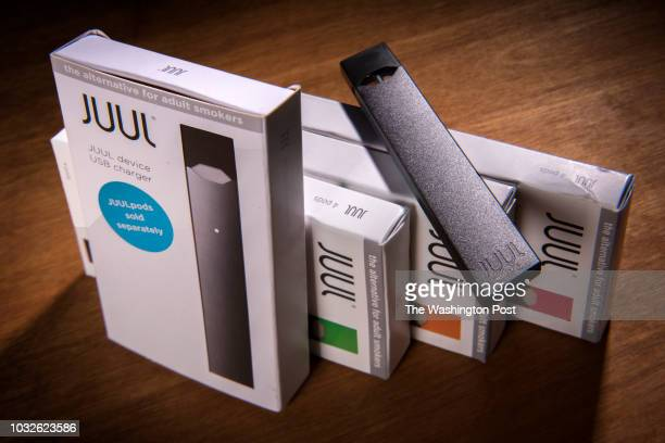 Juul vaping system with accessory pods in varying flavors on May 2018 in Washington DC