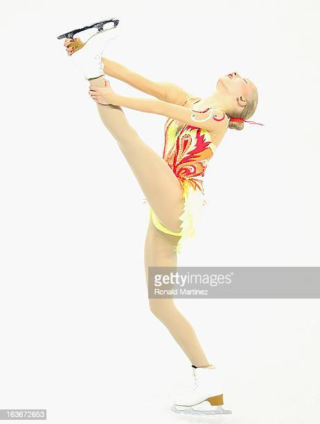 Juulia Turkkila of Finland competes in the Ladies Short Program during the 2013 ISU World Figure Skating Championships at Budweiser Gardens on March...