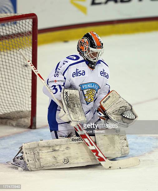 Juuse Saros of Team Finland skates against Team Canada during the 2013 USA Hockey Junior Evaluation Camp at the Lake Placid Olympic Center on August...