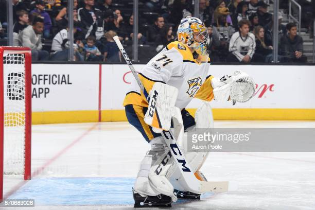Juuse Saros of the Nashville Predators defends the net during a game against the Los Angeles Kings at STAPLES Center on November 4 2017 in Los...