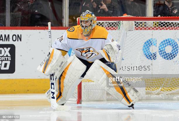 Juuse Saros of the Nashville Predators gets ready to make a save against the Arizona Coyotes at Gila River Arena on January 4 2018 in Glendale Arizona