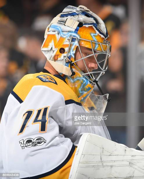 Juuse Saros of the Nashville Predators looks on against the Pittsburgh Penguins at PPG Paints Arena on October 7 2017 in Pittsburgh Pennsylvania