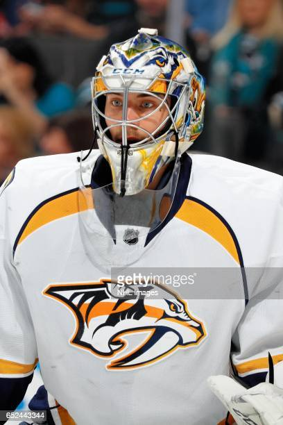 Juuse Saros of the Nashville Predators looks on during a NHL game against the San Jose Sharks at SAP Center at San Jose on March 11 2017 in San Jose...