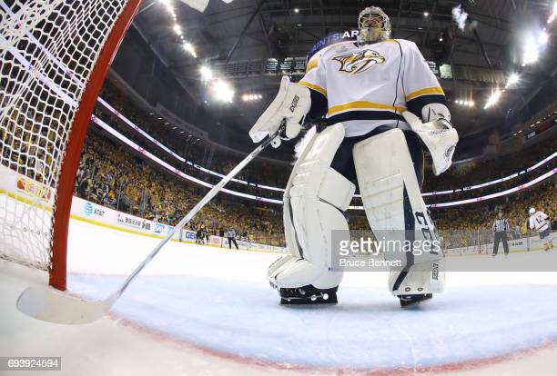 Juuse Saros of the Nashville Predators looks on in the second period against the Pittsburgh Penguins in Game Five of the 2017 NHL Stanley Cup Final...