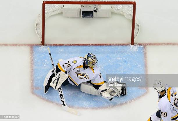 Juuse Saros of the Nashville Predators makes a save against the Pittsburgh Penguins in Game Five of the 2017 NHL Stanley Cup Final at PPG Paints...