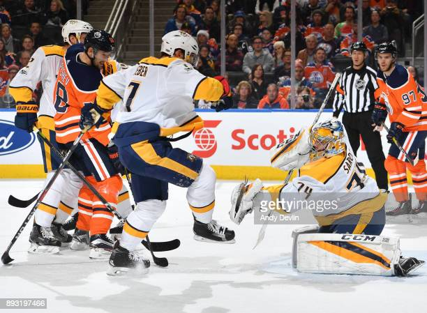 Juuse Saros of the Nashville Predators makes a save on a shot from Anton Slepyshev of the Edmonton Oilers on December 14 2017 at Rogers Place in...