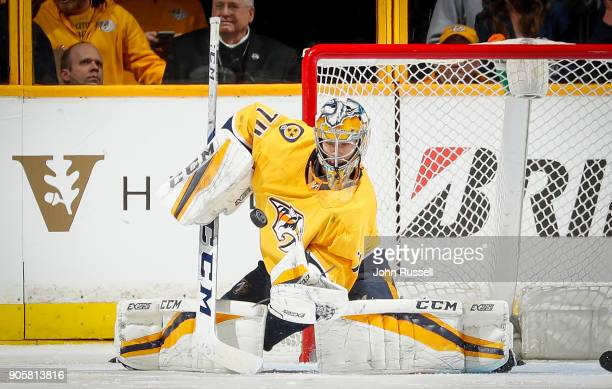 Juuse Saros of the Nashville Predators makes the save against the Vegas Golden Knights during an NHL game at Bridgestone Arena on January 16 2018 in...