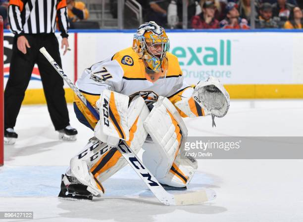 Juuse Saros of the Nashville Predators prepares to make a save during the game against the Edmonton Oilers on December 14 2017 at Rogers Place in...