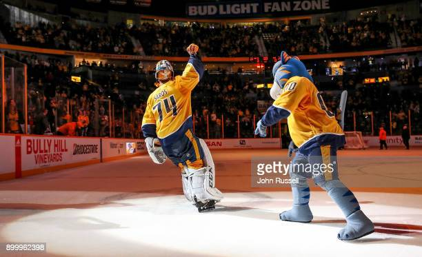 Juuse Saros of the Nashville Predators skates as First Star of the Game after a 30 win against the Minnesota Wild during an NHL game at Bridgestone...