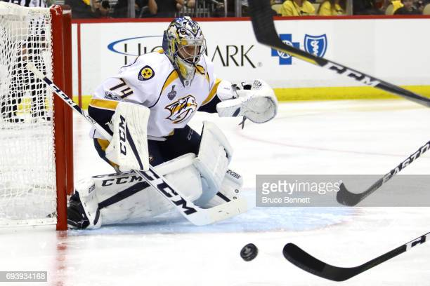 Juuse Saros of the Nashville Predators tends goal in the third period against the Pittsburgh Penguins in Game Five of the 2017 NHL Stanley Cup Final...
