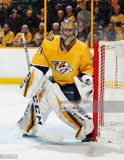 Juuse Saros of the Nashville Predators tends net against the Vegas Golden Knights during an NHL game at Bridgestone Arena on January 16 2018 in...