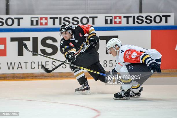 Juusi Ikonen of Karpat Oulu and Jere Seppale of Espoo Blues during the Champions Hockey League quarter final between Karpat Oulu and Espoo Blues at...