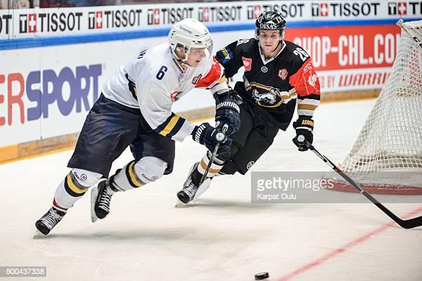 Juusi Ikonen of Karpat Oulu and Otso Rantakari of Espoo Blues during the Champions Hockey League quarter final between Karpat Oulu and Espoo Blues at...