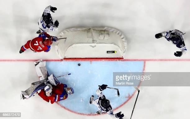 Juuso Hietanen of Finland celebrate a goal during the 2017 IIHF Ice Hockey World Championship Bronze Medal game between Russia and Finland at Lanxess...