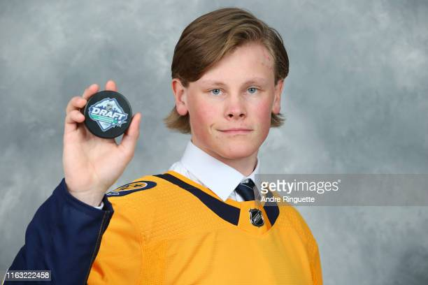 Juuso Parssinen 210th overall pick of the Nashville Predators poses for a portrait during Rounds 27 of the 2019 NHL Draft at Rogers Arena on June 22...