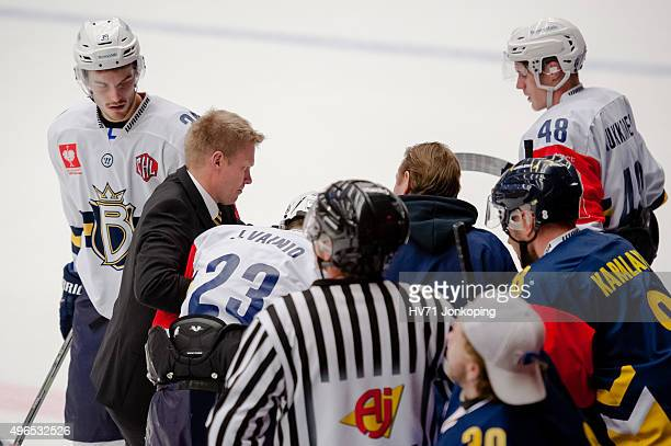 Juuso Vainio of Espoo Blues get hurt during the Champions Hockey League round of eight game between HV71 Jonkoping and Espoo Blues on November 10,...