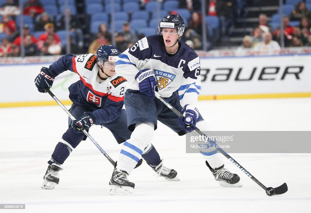Juuso Välimäki #6 of Finland skates the puck up ice with Samuel Solenský #23 of Slovakia applying pressure during the second period of play in the IIHF World Junior Championships at the KeyBank Center on December 30, 2017 in Buffalo, New York. (Photo by Nicholas T. LoVerde/Getty Images) *** Samuel Solenský; Juuso Välimäki