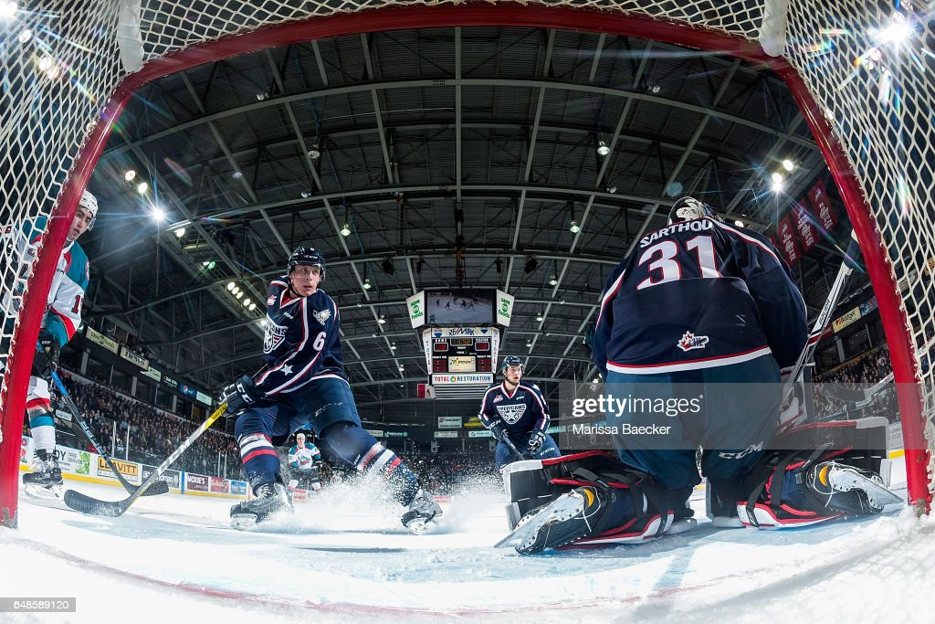 Juuso Välimäki #6 of the Tri-City Americans stops on the ice in front of the net against the Kelowna Rockets on March 4, 2017 at Prospera Place in Kelowna, British Columbia, Canada.