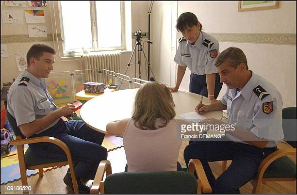 Juvenile Delinquency Prevention Brigade On June 19Th 2002 In Lyon France In The Hearing Room The Gendarmes Who Will Interrogate Of The Girl Explain...
