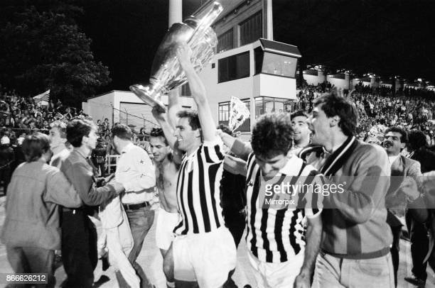 Juventus 10 Liverpool FC 1985 European Cup Final Heysel Stadium Brussels Belgium Wednesday 29th May 1985 match action Juventus players celebrate with...