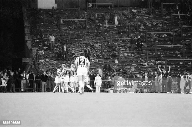 Juventus 10 Liverpool FC 1985 European Cup Final Heysel Stadium Brussels Belgium Wednesday 29th May 1985 match action Michel Platini celebrates with...