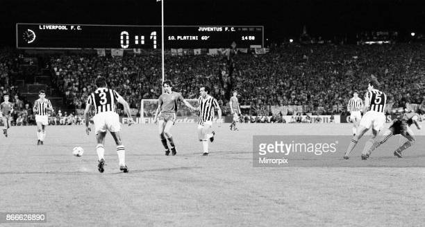 Juventus 10 Liverpool FC 1985 European Cup Final Heysel Stadium Brussels Belgium Wednesday 29th May 1985 match action Scoreboard in background Alan...