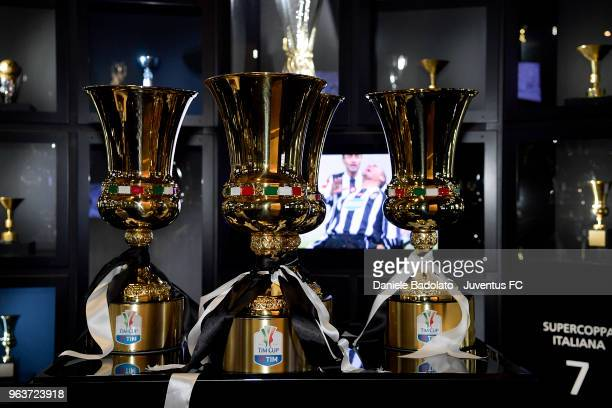 Juventus 2017/18 Serie A / Tim Cup trophies are displayed at Club's museum at Allianz Stadium on May 30, 2018 in Turin, Italy.