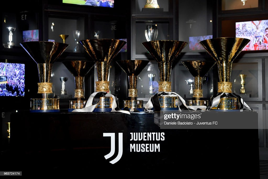 Juventus 2017/18 Trophies Are Displayed At Club's Museum : News Photo