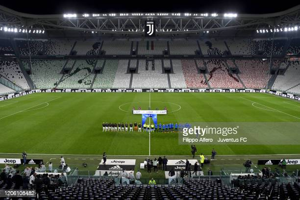 Juventus' and FC Internazionale players line up prior to the Serie A match between Juventus and FC Internazionale at Allianz Stadium played behind...