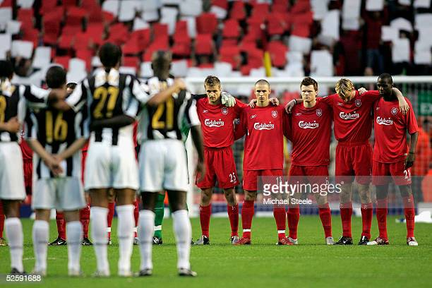 Juventus and Liverpool players stand with arms locked for one minutes silence commemorating the 20th anniversary of the Heysel Stadium disaster prior...