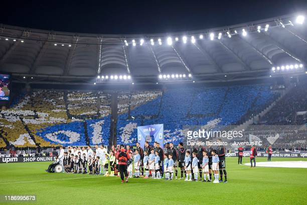 Juventus' and SS Lazio's players line up before the Serie A match between SS Lazio and Juventus at Stadio Olimpico on December 7, 2019 in Rome, Italy.