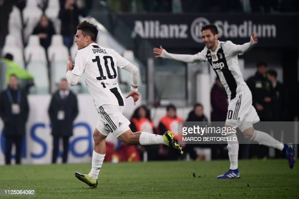 Juventus' Argentine forward Paulo Dybala celebrates after opening the scoring during the Italian Serie A football match Juventus vs Frosinone on...