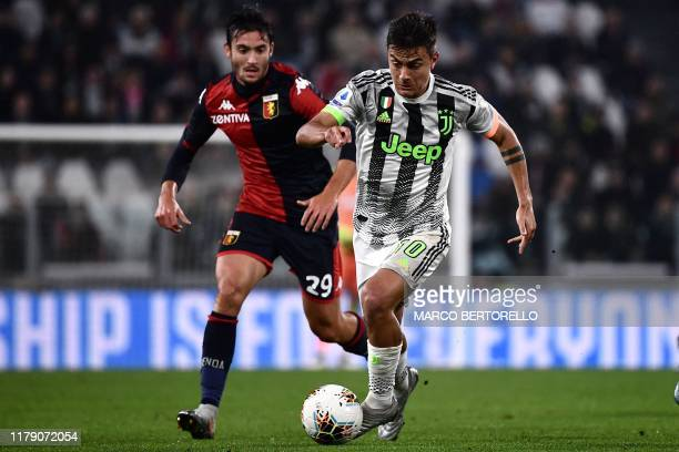 Juventus' Argentine forward Paulo Dybala controls the ball during the Italian Serie A football match between Juventus and Genoa on October 30 2019 at...