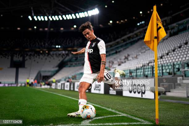 Juventus' Argentine forward Paulo Dybala controls the ball during the Italian Serie A football match between Juventus and Lazio, on July 20, 2020 at...