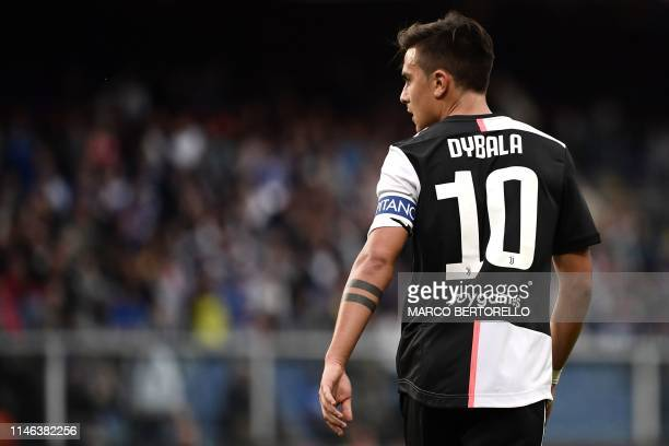 Juventus' Argentine forward Paulo Dybala looks on during the Italian Serie A football match Sampdoria vs Juventus on May 26 2019 at the 'Luigi...