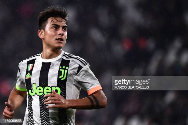 Juventus' Argentine forward Paulo Dybala looks on during the Italian Serie A football match between Juventus and Genoa on October 30 2019 at the...