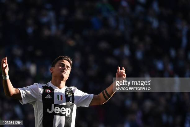 Juventus' Argentine forward Paulo Dybala reacts during the Italian Serie A football match Juventus vs Sampdoria on December 29 2018 at the Juventus...
