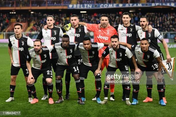 Juventus' Argentinian forward Gonzalo Higuain Juventus' French midfielder Blaise Matuidi Juventus' Brazilian defender Alex Sandro Juventus' Bosnian...
