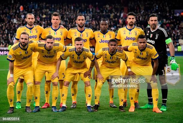 Juventus' Argentinian forward Gonzalo Higuain Juventus' Italian defender Mattia De Sciglio Juventus' Italian midfielder Miralem Pjanic Juventus'...