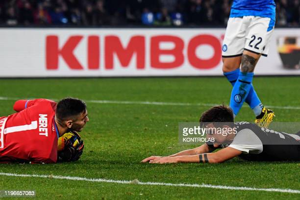 STADIUM NAPLES CAMPANIA ITALY Juventus' Argentinian forward Paulo Dybala looks at Napoli's Italian goalkeeper Alex Meret during the Italian Serie A...