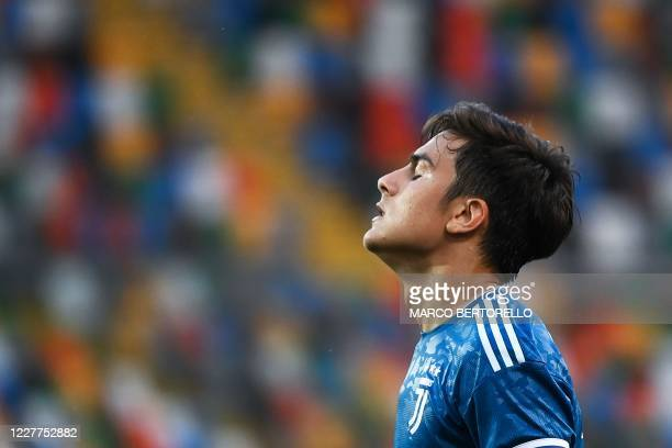 Juventus' Argentinian forward Paulo Dybala reacts during the Italian Serie A football match between Udinese and Juventus on July 23 at the Dacia...