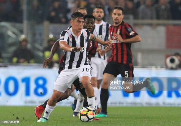 Juventus' Argentinian striker Paulo Dybala controls the ball during the Tim Italy Cup Final football match AC Milan vs Juventus FC at theOlimpico...