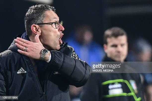 Juventus' assitant coach Marco Landucci who took over coaching after Juventus' Italian coach Massimiliano Allegri was expelled from the pitch shouts...