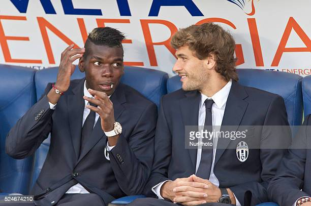Juventus beat Lazio 40 in the Italian Supercoppa final match in Rome Italy on August 18 2013 In the photo Paul Pogba and Fernando Llorente Juventus...