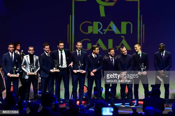 Juventus' Brazilian defender Alex Sandro aris SaintGermain's Brazilian defender Dani Alves Juventus' Bosnian midfielder Miralem Pjanic Juventus'...