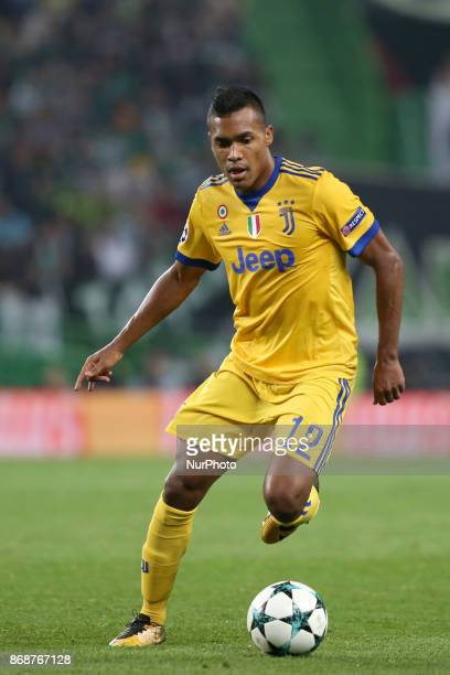 Juventus' Brazilian defender Alex Sandro in action during the UEFA Champions League football match Sporting CP vs Juventus at the Alvalade stadium in...