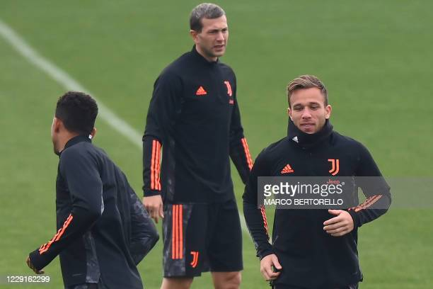 Juventus Brazilian midfielder Arthur Melo attends the training session at the Juventus Training Center in Turin on the eve of the UEFA Champions...